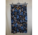 M&S Pleated Wrap Patterned Skirt, Navy Mix Size: 8