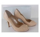 BNIB Rachel Simpson Leather Peep Toe Court Shoes Beige Size: 6