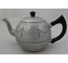 Dainty Swan Brand 'Empire' aluminium engraved teapot with black handles