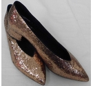M&S Collection Glitter Block Heeled Courts Gold Size: 3.5