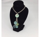 Aqua Coloured Button Necklace - Upcycled