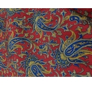 Large Fabric Remnant Red, Blue and Gold Paisley Pattern