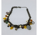 Bead and charm necklace in autumn shades - Upcycled