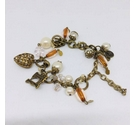 Button, bead and charm bracelet in autumnal shades shades - Upcycled