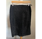 Jennifer Moore Suede & Leather Pencil Skirt Black Size: 12