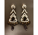 Rhinestone Dangle Earrings - Black Colour