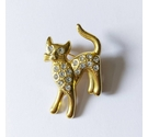 Vintage gold tone cat brooch