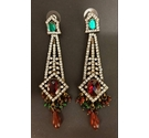 Rhinestone Dangle Earrings - Green Red and Silver
