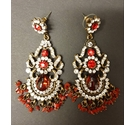 Rhinestone Dangle Earrings - Red