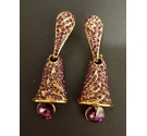 Rhinestone Dangle Earrings - Purple Bell Shape
