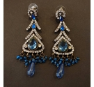 Rhinestone Dangle Earrings - Dark Blue Colour