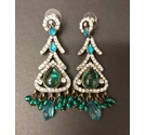 Rhinestone Dangle Earrings - Green Colour