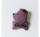 Metal 'Rachel' teddy bear pin badge