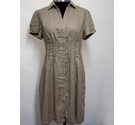 Phase Eight Button Front Midi Linen Dress Beige Size: 10