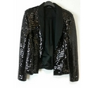 Unlabelled Fitted Jacket in Sequinned Black Size: 6