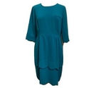 Whistles Scalopped Dress Peacock Green Size: 12