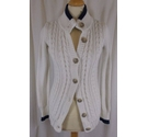 Crew Clothing Button Through Cardigan Cream/Blue Size: 8
