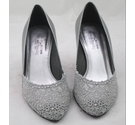 Stuart Weitzman Lave Evening Court Shoe Pewter/Silver Size: 5.5