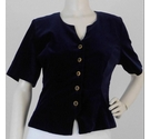 Marion Donaldson Velour Short-Sleeved Jacket Midnight Blue Size: 12