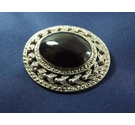 Vintage Costume Jewellery Black glass , silver coloured tone setting