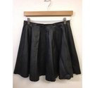 Warehouse Faux Leather Skater Skirt Black Size: 10