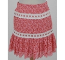 Sandro Floral Lace Short Skirt Salmon Pink Size: 8