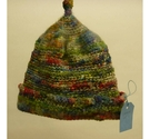 Unbranded Hand Knit Crocheted Wool Hat Green / Multi Size: 5 - 6 Years