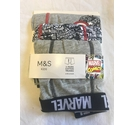M&S Marvel Cotton Trunks x 3 Multi-Coloured Size: 6 - 7 Years