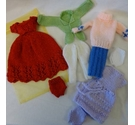 Handknitted bundle of Barbie doll clothes