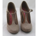 Dune Suede T-Bar High Court Shoes Taupe Size: 4