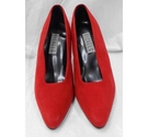 Nickels Plush Suede Court Shoes Red Size: 5