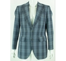 VINTAGE Steegan 42R Vintage Wool & Terylene Jacket Blue Checked Size: L