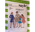 Style 2193 Girls 80s Dress sewing pattern. Used