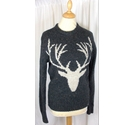 Fat Face Reindeer Knitted Jumper Black and White Size: XS