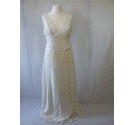 BNWT Alvina Valenta New York 20 ivory chiffon column wedding dress fitted wide V neck bow simple