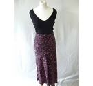 Joules fitted straight midi floral crepe skirt smart slim pink black Size: 8
