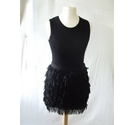 DKNY silk tiered mini skirt faux ostruch feather fluffy black frill Size: 12