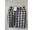 BNWT ASOS fitted denim pencil mini skirt dog tooth hounds black white Size: 6