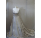 BNWT Dineh's Collection 8 silk ivory wedding dress A line train wide neck bow button back elegant