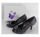 Lunar Elegance Satin Court Shoes Grey Size: 5