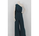 Club L London One Shoulder Jumpsuit Emerald Green Size: 18