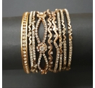 Nine Rhinestone Bangles Set