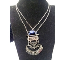 Silver Cleopatra necklace with blue beads
