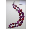 Double string necklace of aubergine/puple glass beads. Approx 50cm.