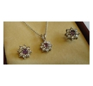 925 SILVER CHAIN WITH CUBIC ZIRCONIA AND MATCHING EARRINGS