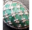 925 SILVER GREEN ENAMEL EGG PENDANT AND CHAIN