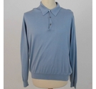 Jaeger Knitted Collared Shirt Pale Sky Blue Size: L
