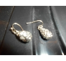 Silver tone drop dangle earringswith crystal stones