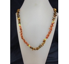 Stone Dog Tooth Style Beaded Retro Brown Necklace 18""
