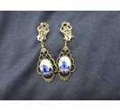 Clip on Delft Style Drop Earrings Vintage